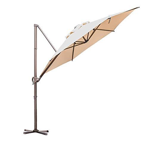 Abba Patio 9ft Patio Offset Hanging Umbrella Outdoor Cantilever Sturdy Umbrella with Crank & Cross Base & Easy Tilt, for Garden, Backyard, Pool and Deck, Blue Stripe