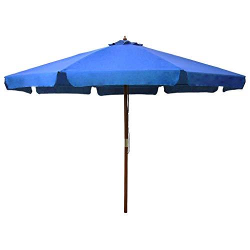 Kshzmoto Sombrilla de jardín con Palo de Madera Parasol para Terraza Jardín Balcón Mástil Protección UV y Impermeable Azul Celeste 330 cm
