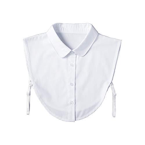 コモライフ 重ね着風つけ襟(白) 首元 シャツ ブラウス サイドストラップ コーディネート 着ぶくれしない インナー