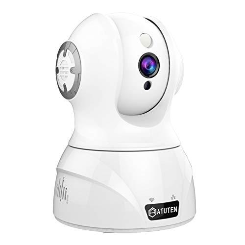 WiFi Cámara - Atuten HD 1080P IP Camera Vigilancia Inalámbrico Auto Giratorio, Audio Bidireccional, Visión Nocturna, Detección de Movimiento Compatible con Amazon Alexa (1080P, Blanco)