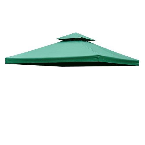 HOMCOM Toile de Rechange pour pavillon tonnelle Tente 3 x 3 m Vert foncé
