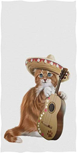 Chic Lindo Gatito de Jengibre de Dibujos Animados Tocando la Guitarra Toallas...