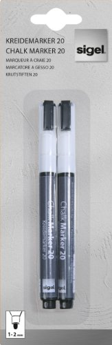 SIGEL GL178 Lot de 2 marqueurs à craie liquide 20, effaçables. Pointes ogives Ø 1 à 2 mm, blanc