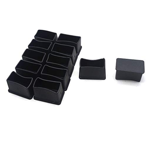 Antrader Rectangle Shaped Furniture Rubber Feet Pads Table Chair Leg Foot End Caps Covers Protectors Black,Pack of 12 (15x30mm)