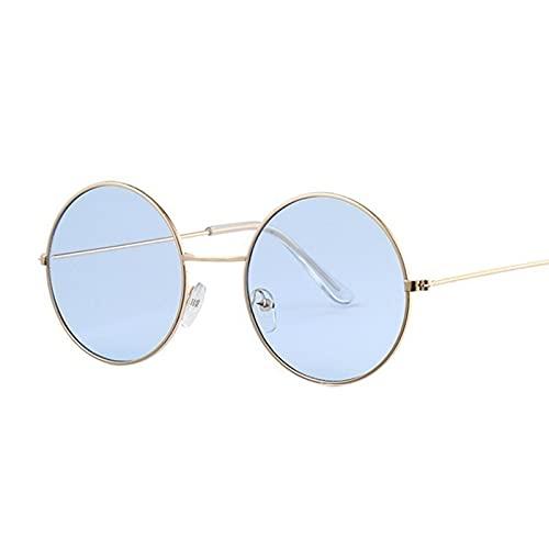 ShZyywrl Gafas De Sol Gafas De Sol para Mujer Diseñador De La Marca Uv400 Marco De Metal Vintage Gafas De Sol Redondas Moda Femenina Plata