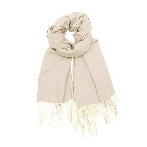 LANSILK Ladies Silk Scarf Fashion - Sciarpe di kashmir leggere eleganti e lussuose Sciarpa lunga Sciarpa grande per donna (170 x 65 cm) (White Ivory Cashmere Scarf)