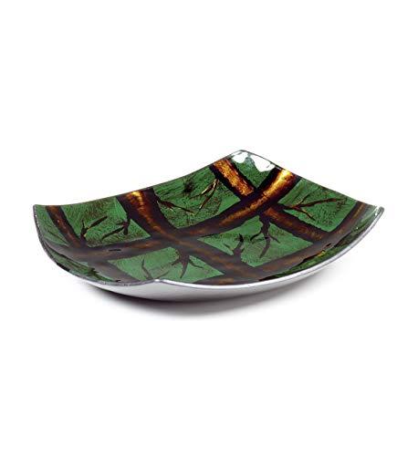 Moycor 9240 Arizona - Bandeja Cristal, Redondo, Marrón/Verde, 25x25x3.5 cm