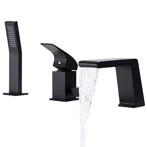 BULUXE Waterfall Tub Filler Faucet with Hand-Held Shower. Widespread Bath Tub Faucet Set, Deck Mount 3-Holes Single-Handle Faucet Modern in Matte Black