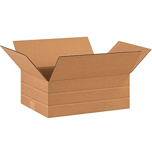 Aviditi MD16126 Multi-Depth Corrugated Cardboard Box 16' L x 12' W x 6' H, Kraft, for Shipping, Packing and Moving (Pack of 25)