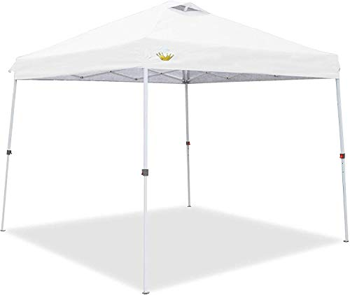 CROWN SHADES Pop up Canopy, Slant Leg Outside Canopy Top 9x9 ft, Base 11x11 ft, One Push Up Instant Shelter Canopy with Wheeled Bag, White