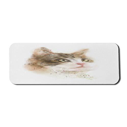 Katze Computer Mauspad, Vintage verschwommenes Kätzchen Gemälde Domestic Furry Animal Kitty Haustier Artwork Bild, Rechteck rutschfeste Gummi Mousepad Large Tan und Beige