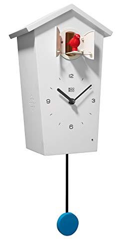 KOOKOO Birdhouse Weiß, Moderne Kuckucksuhr, Design Wanduhr mit 12 Vogelstimmen oder Kuckuck, mit Pendel, Aufnahmen aus der Natur von Jean-Claude Roché