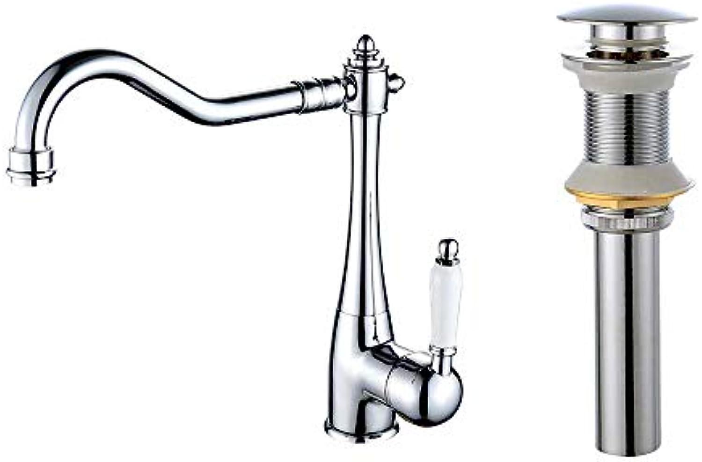 Küchenarmatur - Einhand-Einloch-Chrom hoher hoher Bogen-Centerset Zeitgenssische Küchenarmaturen