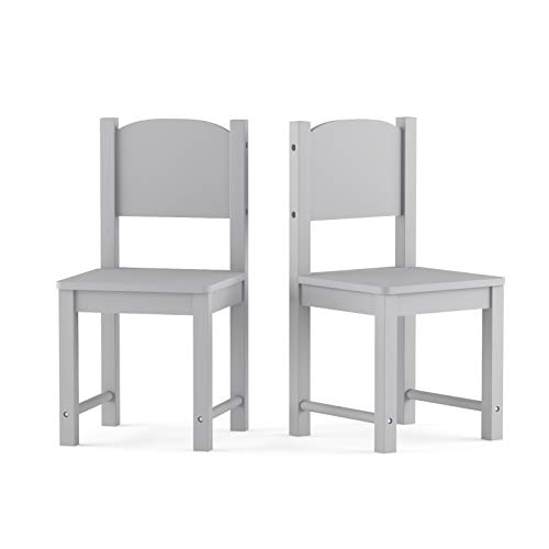 Timy Toddler Wooden Chair Pair, Kids Furniture for Eating, Reading, Playing 2 Pack (Grey)