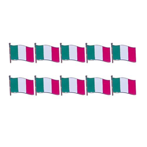 TENDYCOCO 10 stücke Italienische Flagge Brosche Anstecknadel Eisen Einbrennlack Kleidung Tasche Decor für Festival Party