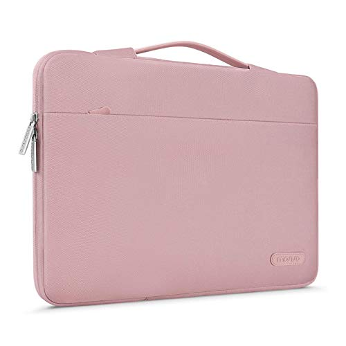 MOSISO Laptop Sleeve 360 Protective Case Bag Compatible with 13-13.3 inch MacBook Pro, MacBook Air, Notebook Computer, Polyester Briefcase with Trolley Belt, Pink