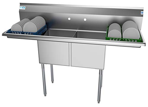 KoolMore 2 Compartment Stainless Steel NSF Commercial Kitchen Prep & Utility Sink with 2 Drainboards - Bowl Size 15