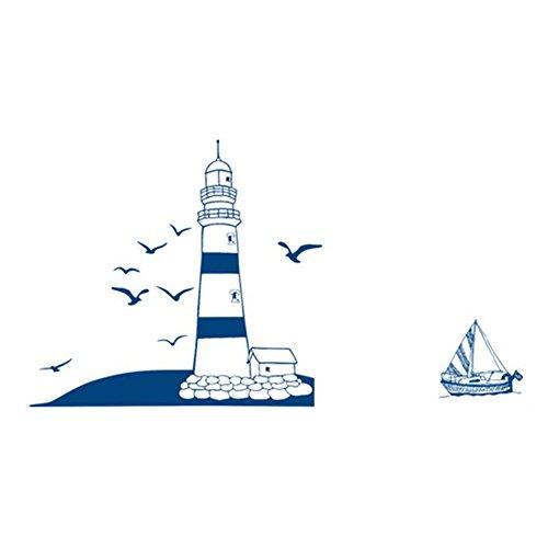 REFURBISHHOUSE Entfernbarer Wandsticker Zimmer Wandtattoo Blaues Segelboot Tower Foto WandAufkleber 22.5 * 50cm