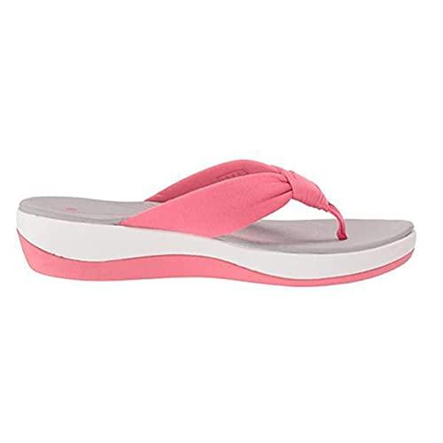 lefeindgdi Chanclas para mujer, sandalias de soporte de arco de tanga, sandalias de verano para mujer, suela antideslizante con fascitis plantar, soporte de arco