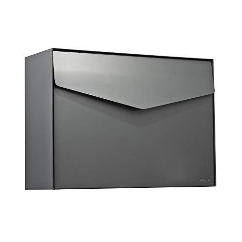 MEFA Briefkasten Letter 111 (Farbe basaltgrau, Postkasten mit Sicherheitsschloss, Brief Design, Größe 312x430x178 mm) 111520M