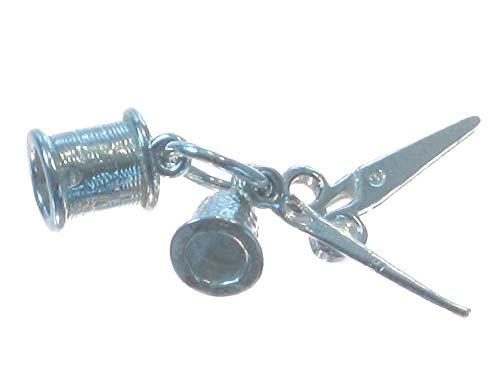 Juego de costura de plata de ley 925 con dijes de aguja de carrete de dedal, SFP