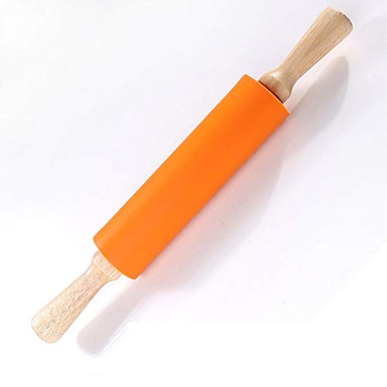 飾る生きている待つ食品グレードのシリコーン麺棒木製ハンドルローラー回転非スティック餃子押し棒ウォーキングハンマー木製ハンドル-オレンジ-L