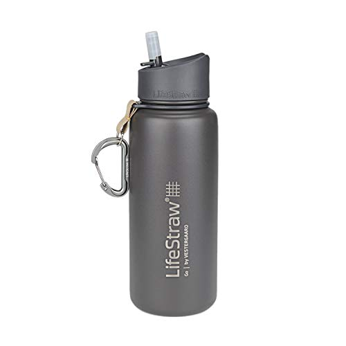 LifeStraw Go Stainless Steel Water Filter Bottle with 2-Stage Integrated Filter Straw, Double Wall Vacuum Insulated, for Hiking, Backpacking, and Travel, 24oz, Grey