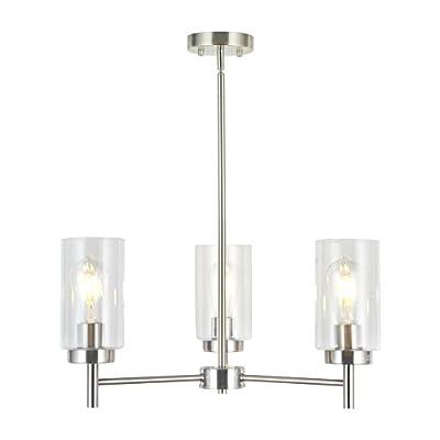 VINLUZ 3 Lights Modern Chandeliers Metal Light Fixtures Ceiling Brushed Nickel Industrial Pendant Lighting for Dinging Room Living Room Kitchen Bedroom Hallway