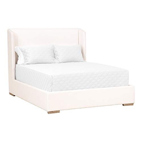 Great Deal! Benjara Fabric Wrapped Wooden Frame California King Bed with Demi Wing Back, White