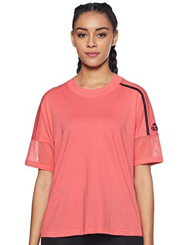 adidas Z.n.e. - Camiseta para Mujer Camiseta – Rojo, Negro, Mujer, Camisetas, DU0591, Rojo, Extra-Small