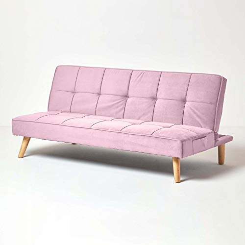 HOMESCAPES Velvet Sofa Bed Blush Pink 3 Seater Sofa Click Clack Bed Sleeper Retro Range 'Bower' Bed Settee on Wooden Legs for Study Guest and Living Room