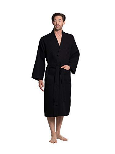 Turkuoise Linen - Albornoz de baño y spa para hombre, mezcla de algodón, Negro, Large