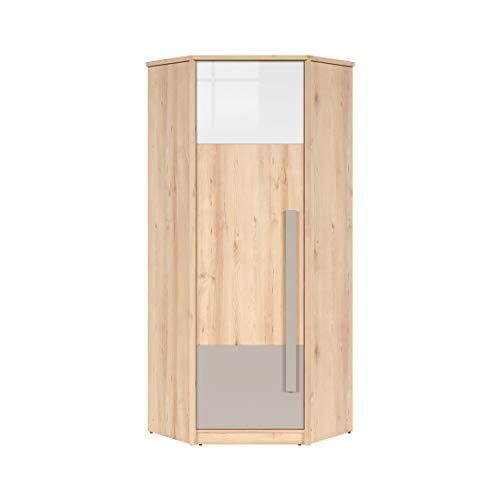 Smartbett NAMECK - Guardaroba angolare a 1 anta in finto faggio / bianco lucido / grigio