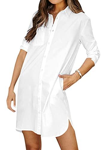 kenoce Blusenkleid Damen V-Ausschnitt Langarm Longshirts Tunika Strand Cover Up Sommerkleid Vertuschen Shirt A-Weiß S