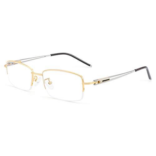 HQMGLASSES Gafas de Lectura de Hombres Computadora/Juego HD Reader Anti-BLU-Ray, Marco Rectangular de bisagra Exquisita Diopter +1.0 a +3.0,Oro,+3.0