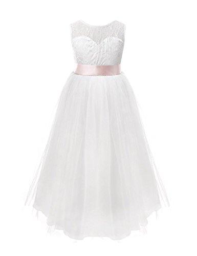 YiZYiF Festliches Mädchen Kleider Brautjungfern Kleider Hochzeit Party Festkleid Weiß Tüll...