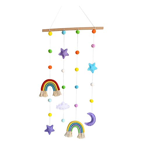 Baiyao Rainbow Photo Display Holder with Pompom Girls Hair Bow Clips Storage Hanger Wall Hanging Picture Organizer Nursery Baby Kid Room Home Decoration