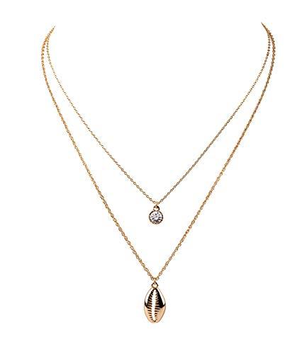 SIX Damen Halskette, Gliederkette, Layering Look, Doppelkette, Strassstein, Muschel, Meer, Gold (779-587)