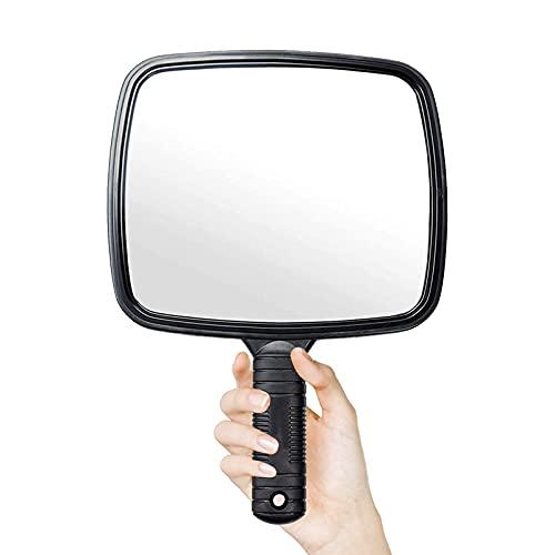 Espejo de mano con mango para peluquería, uso profesional