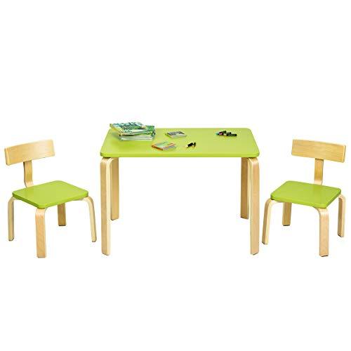 COSTWAY Juego de 1 Mesa y 2 Sillas para Niños Grupo de Mueble de Madera para Cuarto de los Niños Sala de Estar (Verde)