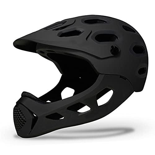 Adult All Mountain Full Face Helmet For Downhill Mountain Biking Adjustable Detachable Cycling Helmet Breathable Ultralight For Skateboard Scooter Roller Oksmsa (Color : Black)
