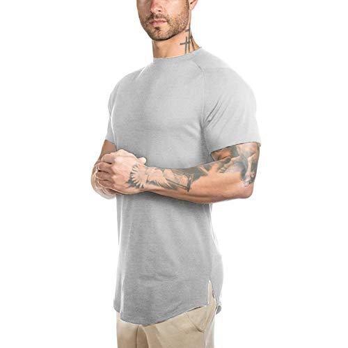 Mens Slim Fitted Gym Athletic T-Shirt Longline Raglan Sleeve Curved Hem Shirts Tees (L, Grey)