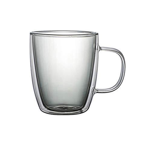 HIUYOO Gläser Kristallglas Doppelwandige Gläser (400 ML/13.5 OZ) Grau 9x11 cm