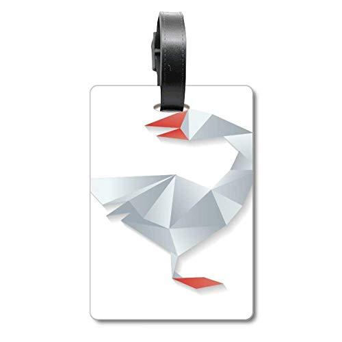 Etiqueta de identificación de Ganso geométrico Abstracto con patrón de Origami para Maleta de Crucero