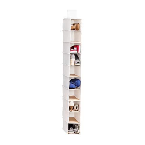 Honey-Can-Do SFT-01001 Hanging Shoe Organizer, Bamboo/Canvas, 10-Shelf