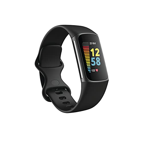 Fitbit Charge 5 Advanced Fitness & Health Tracker with Built-in GPS, Stress Management Tools, Sleep Tracking, 24/7 Heart Rate and More, Black/Graphite, One Size (S &L Bands Included)