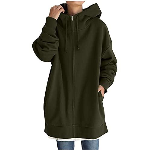 BIBOKAOKE Sudadera para mujer de tamaño grande, vintage, con capucha y cremallera, chaqueta de entretiempo,...