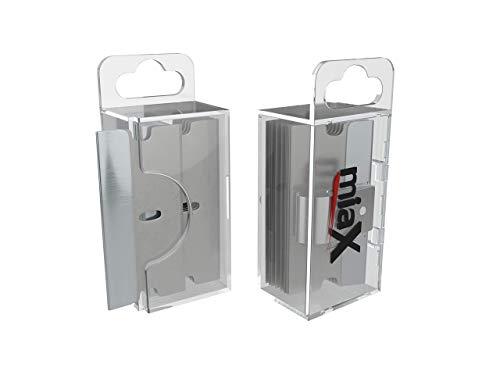 miaX Cuchillas de repuesto de primera calidad para rascador de vitrocerámica - 10 cuchillas práctica caja dispensador para rasqueta de vidrio - 10 cuchillas de acero inoxidable de alta calidad