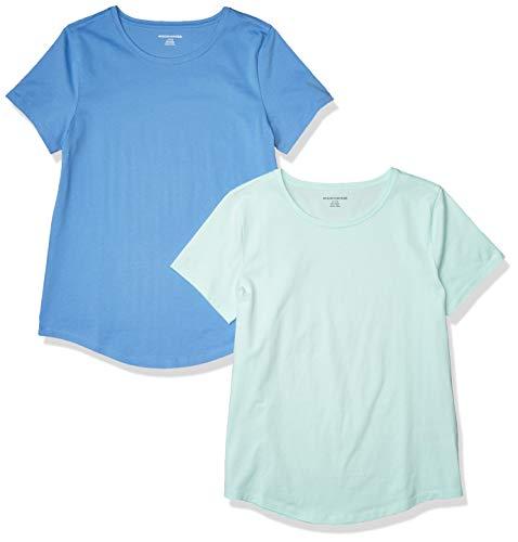 Amazon Essentials Women's 2-Pack Classic-Fit 100% Cotton Short-Sleeve Crewneck T-Shirt, Light Aqua/French Blue, Medium