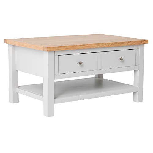 RoselandFurniture Farrow Grey Large Coffee Table for Living Room with Storage Drawer, Shelves & Oak Top | Painted Solid Wooden Rectangular Unit | H:45 W:85 D:55 cm